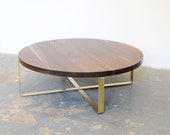 "42"" Coffee Table w/Brass Base - Dylan Design Co."