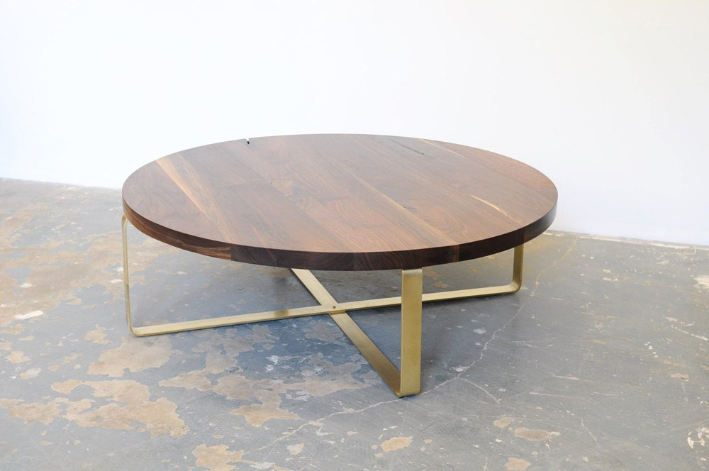 Walnut Coffee Table Brass Base Round Top Black Walnut Free