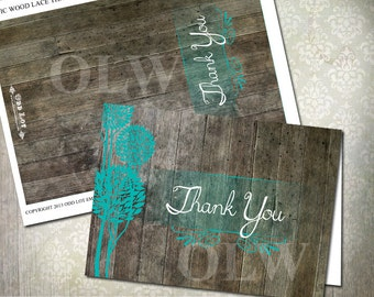 DIY Printable Rustic Thank You Cards, Rustic Wood and Turquoise Trees,  Printable thank you card INSTANT DOWNLOAD