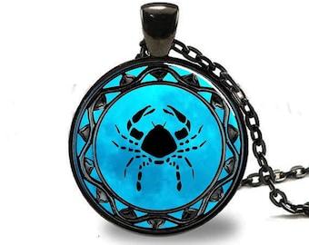 Cancer Zodiac Pendant, Cancer Zodiac Necklace, Cancer Zodiac Jewelry, Black (PD0319)