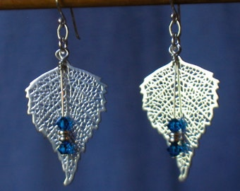 Sterling Silver Open Leaf Earrings with Cobalt Crystal Dangles
