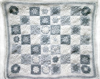 Grey White Granny Square Baby Blanket- Hand Crocheted- Baby Afghan- Made To Order- Boy or Girl