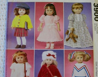 "McCalls Crafts 18"" Doll Outfits Clothes Sewing Pattern 3900 Uncut UC FF AG American Girl Gotz"