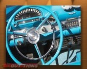 Ford Thunderbird, Blue Car Photo, Classic Car Art, Car Picture, Steering Wheel Picture, Automobile Art, Convertibles, 8x10, 11x14, 16x20