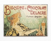 "Retro Wood Wall Art 8x12"" 20x30 cm French Table Biscuit Paris Retro Advertising Wall Hanger Art Deco Art Noveau Room Decor Coffee decor"