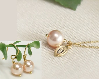 Bridesmaid gift set- Leaf initial, peach pearl necklace and earring set , Swarovski Pearl Charm, necklace and simple earring set