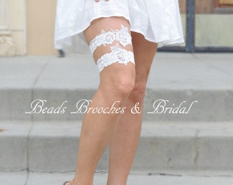 Off-white Rose Lace Wedding Garter Set,Bridal Flower Garter,Pearls and Sequins Wedding Garter,Brial Garter Set, White Stretch Lace Garter