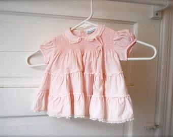 Vintage Pink Baby Dress, Frills, by Nanette
