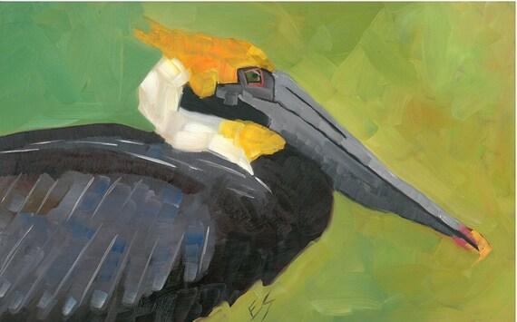 Brown Pelican Original Oil Painting