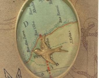 Vintage Ephemera Map Necklace