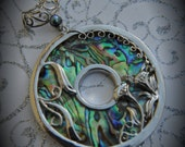 Huge Genuine Silver Plated Abalone Round Pendant With Fresh water Pearl and Clear Crystals