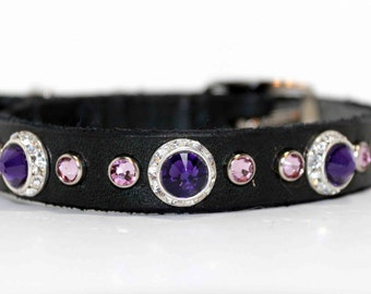 Purple Dog Collar / Rhinestone Dog Collar / Small Dog Collar Leather/ Swarovski Crystals