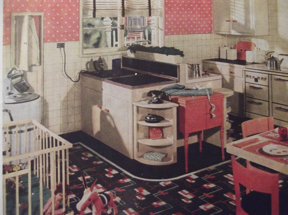 1935 armstong linoleum floors retro kitchen print vinyl floor - Retro flooring kitchen ...