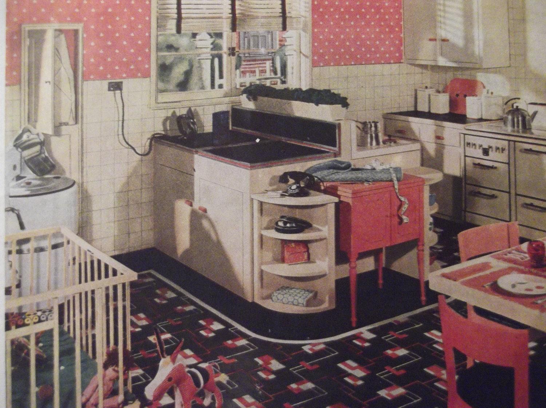 1935 armstrong linoleum b den retro k che print vinyl. Black Bedroom Furniture Sets. Home Design Ideas