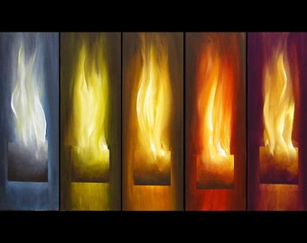 """Touched with Fire PRINT 50""""x30"""" Stretched Ready-to-Hang  & Embellished  - Art by Osnat"""