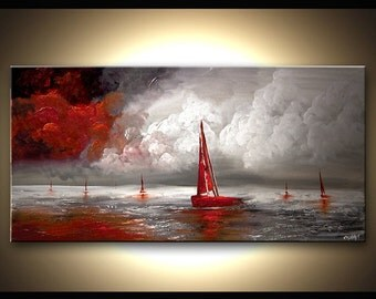 """Seascape Painting 48"""" x 24"""" Textured Original Contemporary Sailboats Abstract Red, Gray, White Acrylic Art by Osnat - MADE-TO-ORDER"""