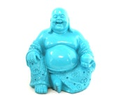 turquoise buddha statue, buddai, laughing buddha, home decor, zen, buddhist, good fortune, blue, spiritual statues