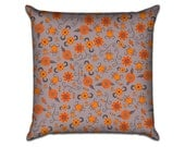 """Fab Floral in Firery Red - Original Pattern Sofa Throw Pillow Envelope Cover for 18"""" inserts"""