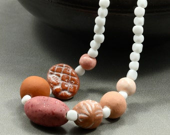 African Bead Necklace with Indonesian Glass Beads, Strand Necklace, Chunky Necklace, Pink Necklace, White Necklace