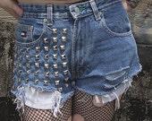 Heavily Studded High Waisted Denim Shorts
