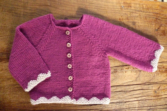 SECONDS SALE/ Plum pink girl cardigan/ merino wool / baby girl clothing/ newborn knit jacket