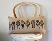 Zebra Bums hand block printed Lumbar decorative scatter cushion cover on white