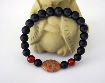Black Onyx Bracelet, Coral Fossil Bracelet, Yoga Stretch Bracelet, Carnelian and Fossilized Sea Coral, Zen Bracelet, Beaded Stretch Bracelet