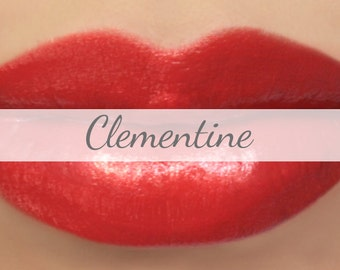 "Red Orange Lipstick Sample - ""Clementine"" (bright red orange lipstick) natural lip tint, balm, lip colour mineral lipstick"