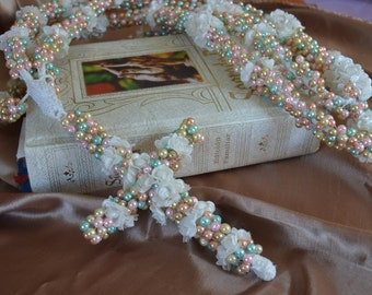 Wedding Lasso, lazo para bodas, Ivory Style, Rope with Pearls and small flowers - Ready to Ship
