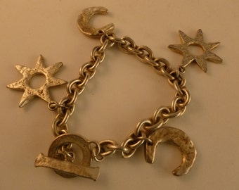 Hammered Silver Toned Moons and Stars Bracelet