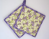 "Quilted Potholders ""Lavender Orchids"" Set of 2"