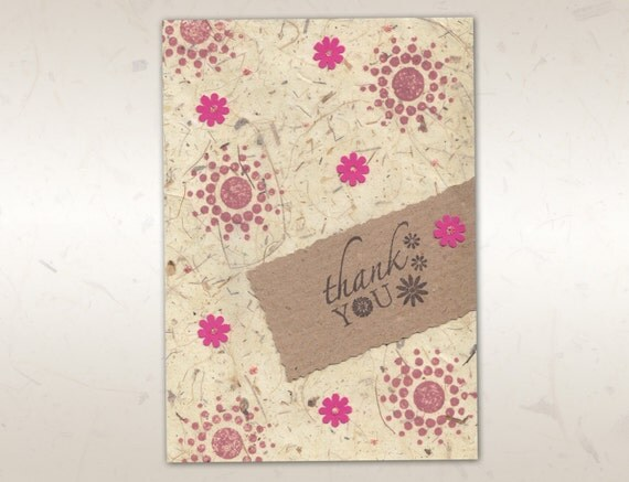 SET of 5 Thank You Cards Handmade with recycled paper and pink flowers