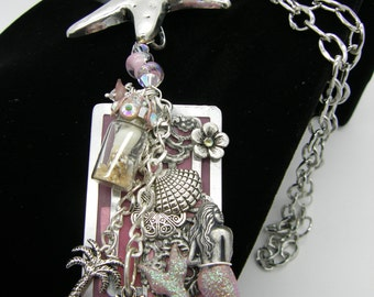 Beach Themed Handcrafted Necklace in Pinks and Silver - Huge Sea Star, Mermaid, Sea Horse, Tiny Bottle with Sand and Shell, Lampwork Beads