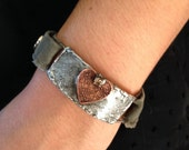 CTR- Choose The Right- Etched and Soldered Rhinestone and Heart Cuff Bracelet