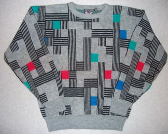Amazing Cool Vintage 80s 90s Hipster Tetris Grey Sweater 1980s Tacky Gaudy Ugly Christmas Sweater Party X-Mas Winter Warm XL Extra Large