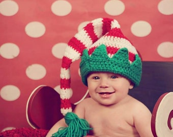 Crochet Christmas Striped Elf Hat Red White Green 0-3 Months
