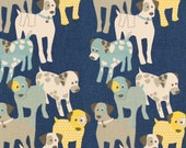 """TWO Curtain Panels, 25"""" x 84"""" - Light Blue, Grey, and Yellow Dogs, Blue background"""