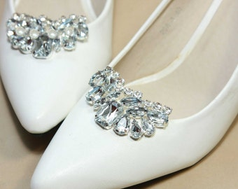 A Pair Of Crystal Shoe Clips,Moon Rhinestone Shoe Clips,Wedding Bridal Shoe Clips,Pearl Crystal,Shoes Decoration,Pearl Shoe Clips