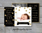 """Christmas Holiday Birth Announcement Black and Gold Glitter and confetti """"We traded silent nights for a bundle of joy"""""""