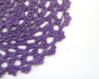 "Purple Heart's Delight Doily - Violet, 5.5"", Egyptian Cotton - Lace Crochet Home Decor Wedding Housewarming Gift Vintage Modern"