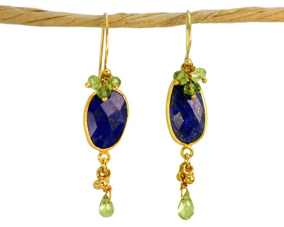 August Birthstone. Lapis Lazuli Earrings with Peridot Clusters. Indigo.