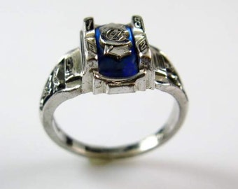 Jostens Vintage 1982 Silvertone & Blue Topaz Class Ring sz 6 BEAUTIFUL condition