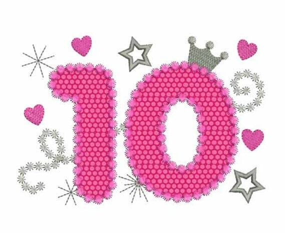 Numero 10 Con Imagenes: Happy Bithday Number 10 Pink Glamour For Girl Applique