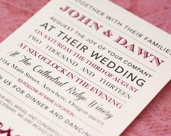 Letterpress Like Custom Elegant Wedding Invitations -Various Quantities