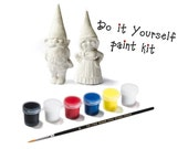 Plastic Toy Garden Gnome Figurines - Do It Yourself Paint Kit