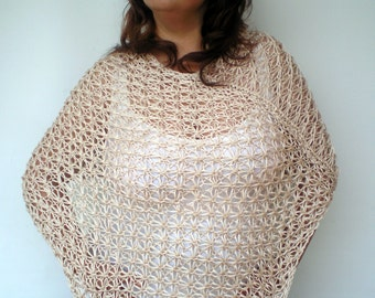 Natural Star Lace Poncho Hand Knit Capelet  Cotton Woman Trendy Poncho NEW
