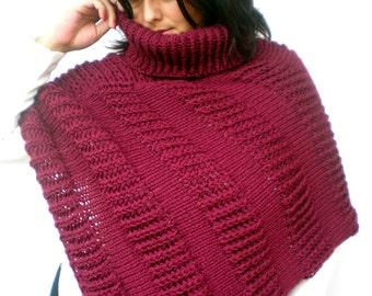 Burgundy Bordeaux Heart Poncho Hand Knit Cape Woman Trendy Asimetrical nixed  Wool  Poncho NEW