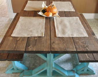 Set of 4- Burlap Placemats-Double Sided/Reversible- 3 Burlap Colors- Rustic/Country/Folk Decor-Woodland-Cabin Decor-Primitive