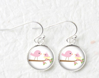 Mother Baby Earrings, Love Bird On Branch Dangle Earrings, Mother Child Jewelry, Mothers Day Gift, New Mother To Be Gift, DE066