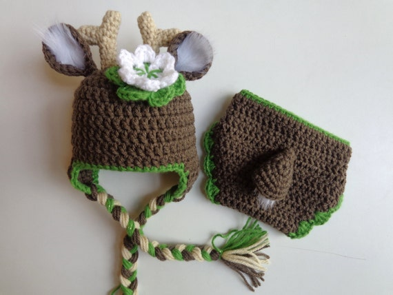 Newborn Crochet White Tail Deer Hat and Diaper Cover Girl
